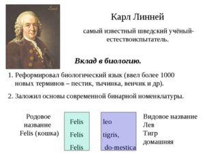 Карл Линней самый известный шведский учёный-естествоиспытатель. 1. Реформиро