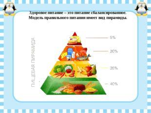 Здоровое питание – это питание сбалансированное. Модель правильного питания и