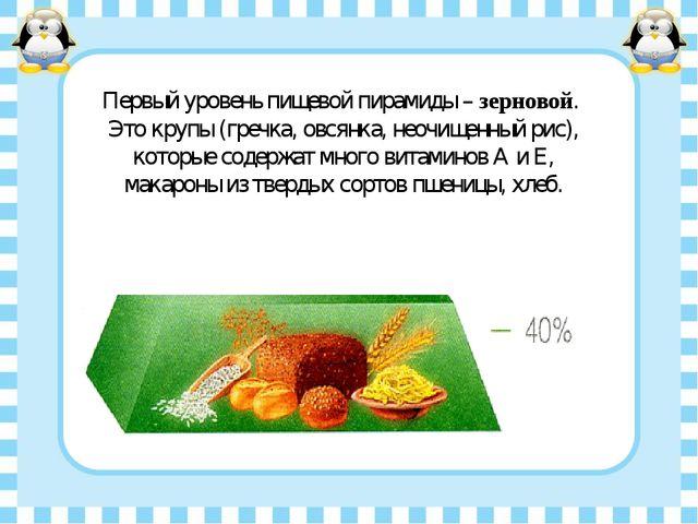 Первый уровень пищевой пирамиды – зерновой. Это крупы (гречка, овсянка, неочи...