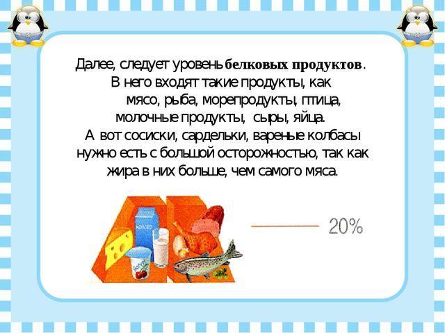 Далее, следует уровень белковых продуктов. В него входят такие продукты, как...