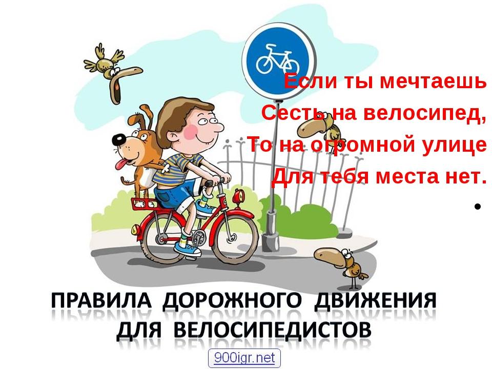 Если ты мечтаешь Сесть на велосипед, То на огромной улице Для тебя места нет.