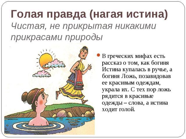 Голая правда (нагая истина) Чистая, не прикрытая никакими прикрасами природы...