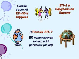 Самый высокий ЕП=30 в Африке ЕП=2 в Зарубежной Европе В России ЕП=? ЕП положи