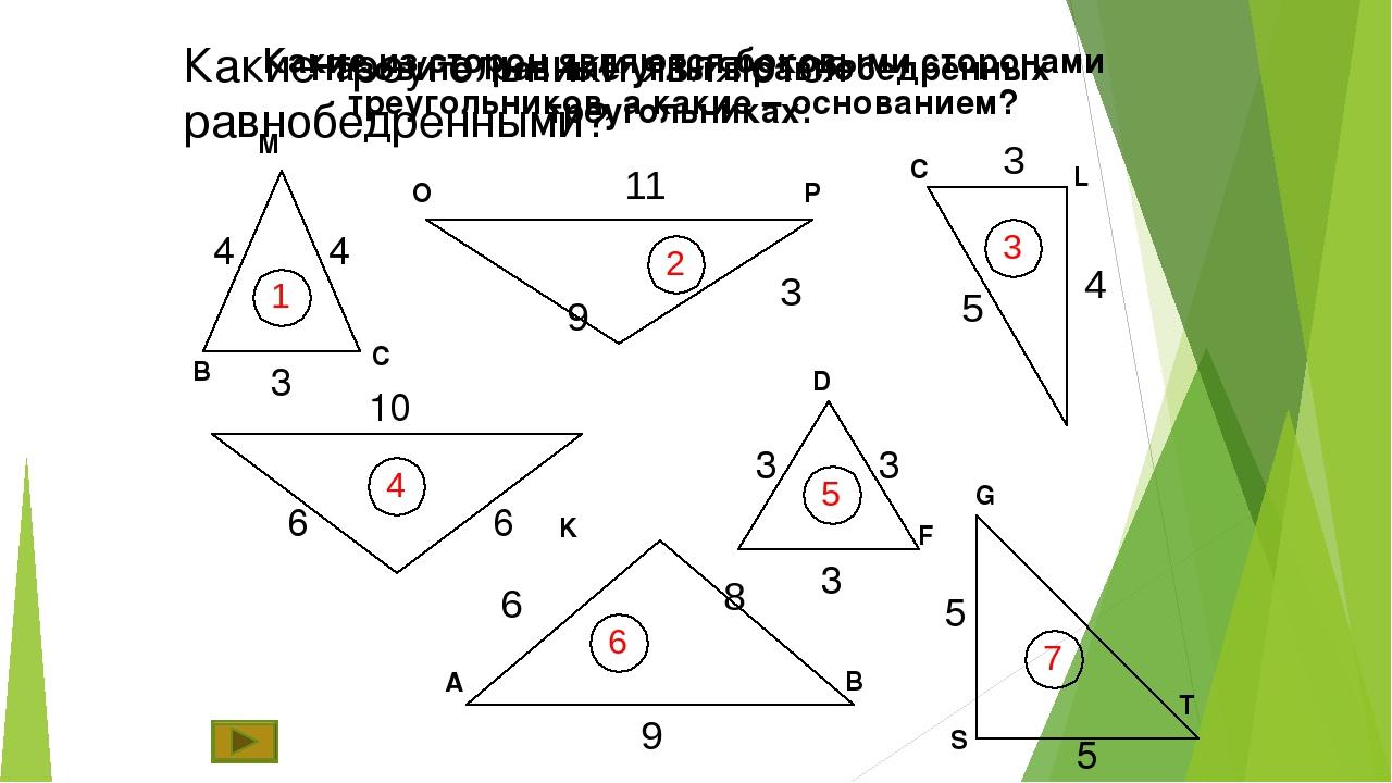 Какие треугольники являются равнобедренными? 4 4 3 10 6 6 3 3 3 5 5 М В С О Р...