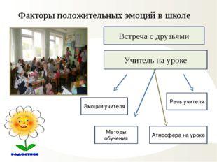 Факторы положительных эмоций в школе Встреча с друзьями Учитель на уроке Эмоц