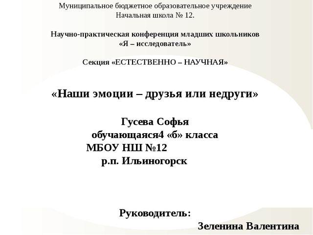Муниципальное бюджетное образовательное учреждение Начальная школа № 12. Науч...