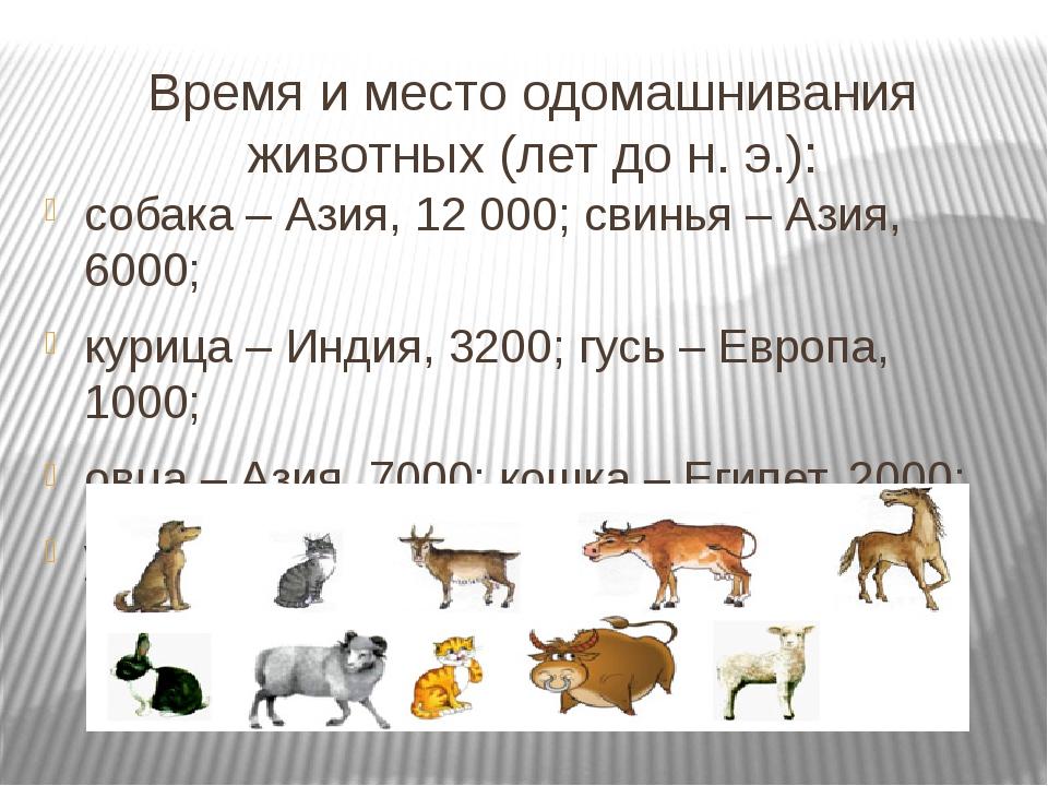 Время и место одомашнивания животных (лет до н. э.): собака – Азия, 12 000; с...