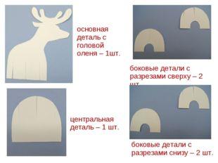основная деталь с головой оленя – 1шт. боковые детали с разрезами сверху – 2