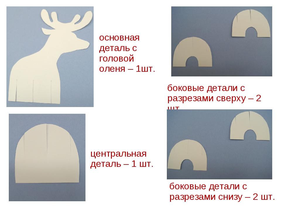 основная деталь с головой оленя – 1шт. боковые детали с разрезами сверху – 2...