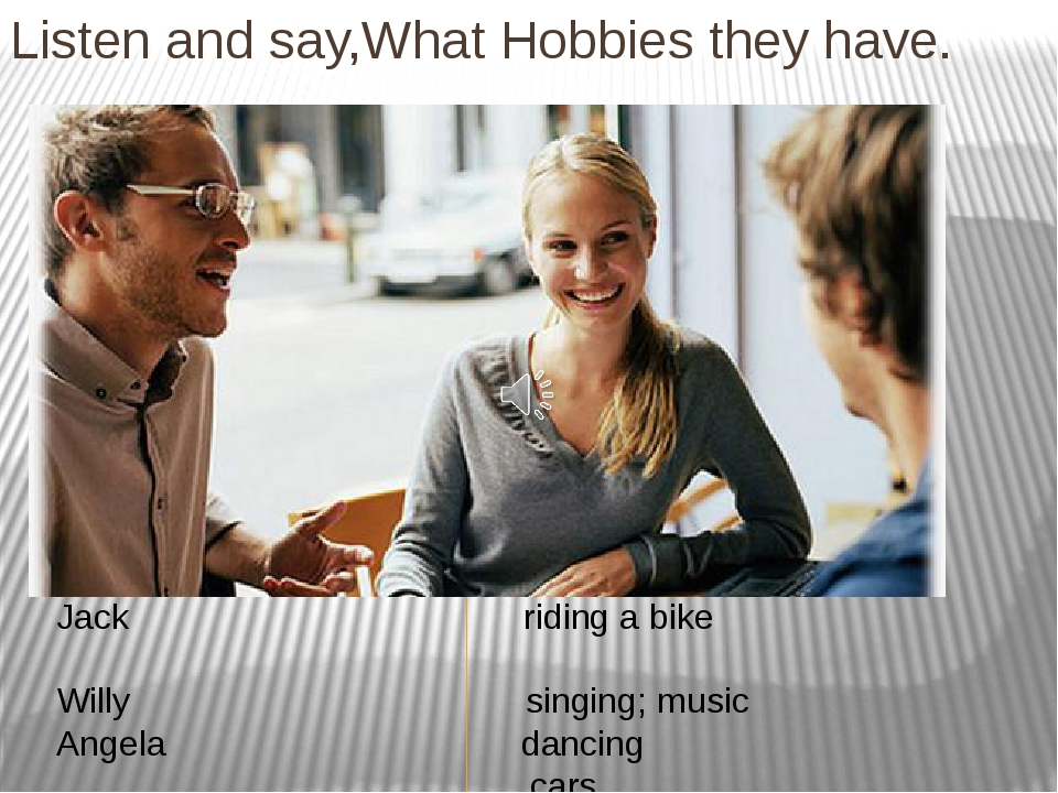 Listen and say,What Hobbies they have. Jack riding a bike Willy singing; musi...
