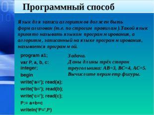 Программный способ Язык для записи алгоритмов должен быть формализован (т.е.