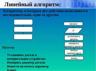 Линейный алгоритм: Алгоритмы, в которых все действия выполняются последовател