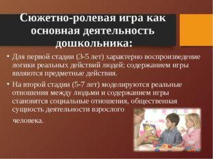 Сюжетно-ролевая игра как основная деятельность дошкольника: Для первой стадии