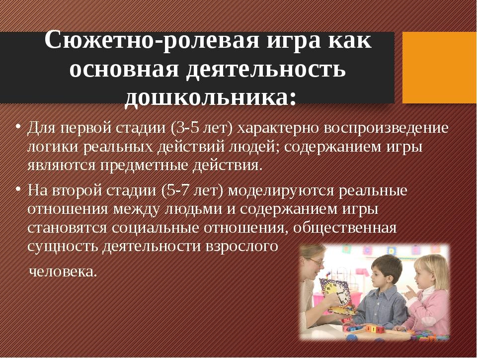 Сюжетно-ролевая игра как основная деятельность дошкольника: Для первой стадии...
