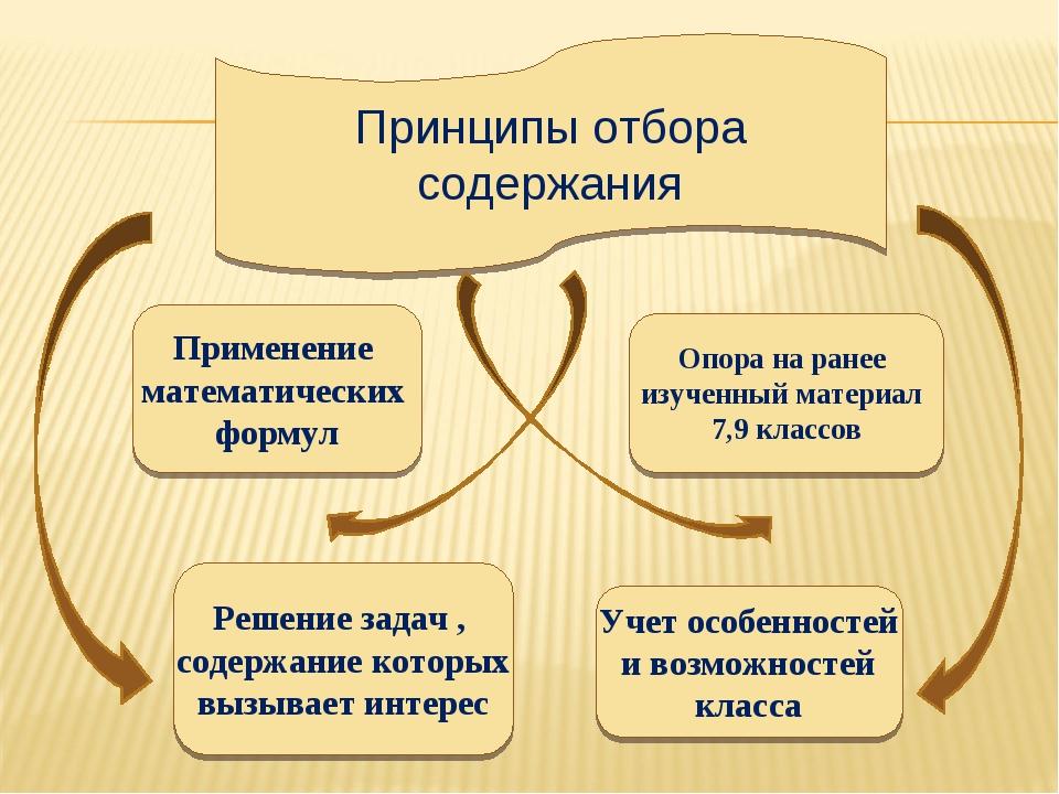 Опора на ранее изученный материал 7,9 классов Учет особенностей и возможносте...
