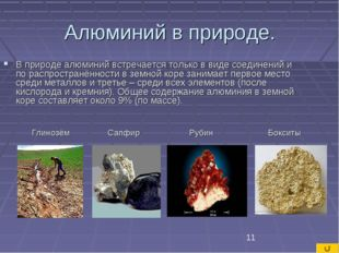 Алюминий в природе. В природе алюминий встречается только в виде соединений