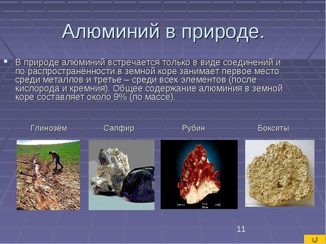 Алюминий в природе. В природе алюминий встречается только в виде соединений...