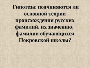 Гипотеза: подчиняются ли основной теории происхождения русских фамилий, их з