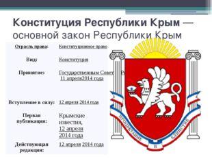 Конституция Республики Крым— основной законРеспублики Крым Отрасль права: К