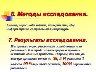 6. Методы исследования. Анализ, опрос, наблюдение, эксперимент, сбор информац
