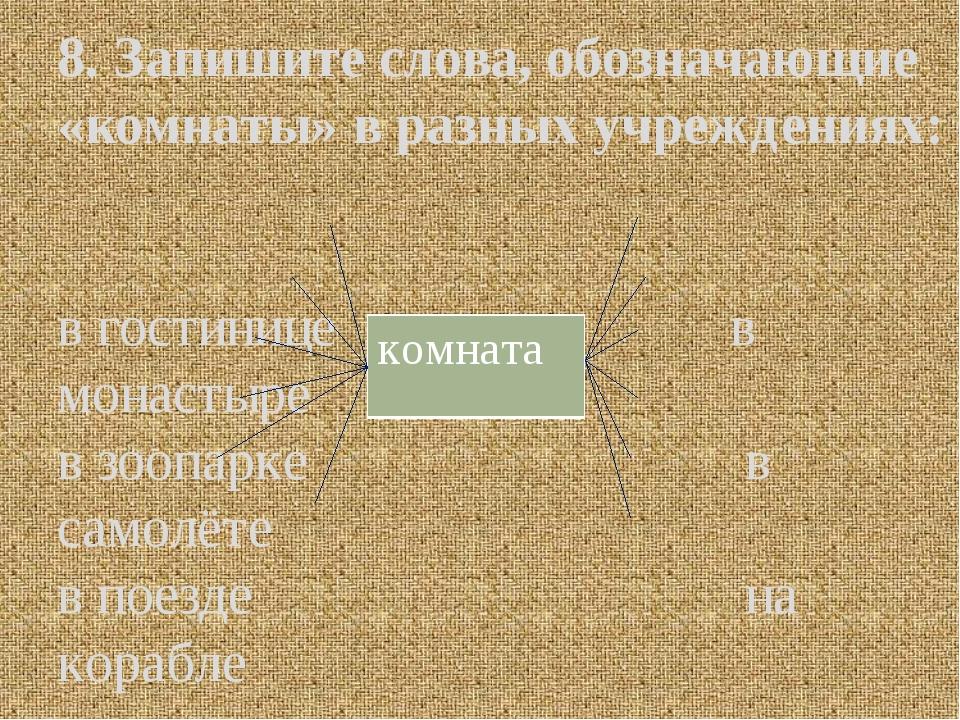 8. Запишите слова, обозначающие «комнаты» в разных учреждениях: в гостинице в...