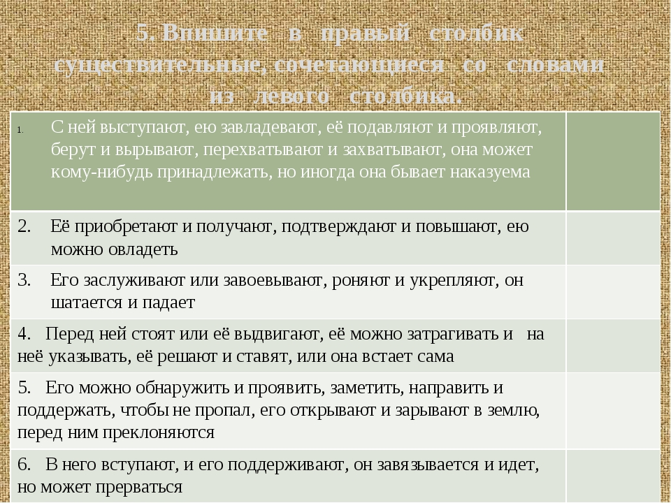 5. Впишите в правый столбик существительные, сочетающиеся со словами из левог...