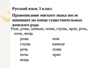 Русский язык 3 класс Правописание мягкого знака после шипящих на конце сущест
