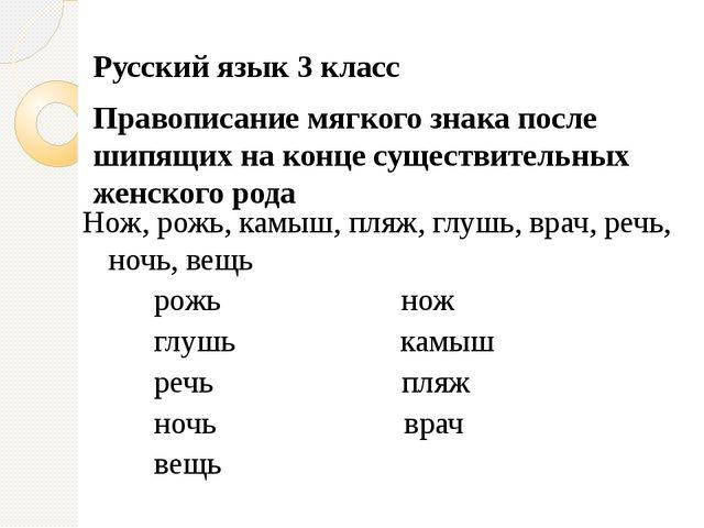 Русский язык 3 класс Правописание мягкого знака после шипящих на конце сущест...