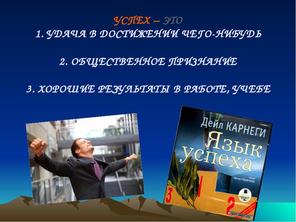 УСПЕХ – ЭТО 1. УДАЧА В ДОСТИЖЕНИИ ЧЕГО-НИБУДЬ 2. ОБЩЕСТВЕННОЕ ПРИЗНАНИЕ 3. Х...