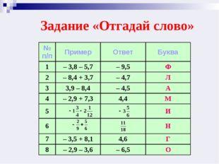 Задание «Отгадай слово» № п/пПримерОтветБуква 1– 3,8 – 5,7– 9,5Ф 2– 8,