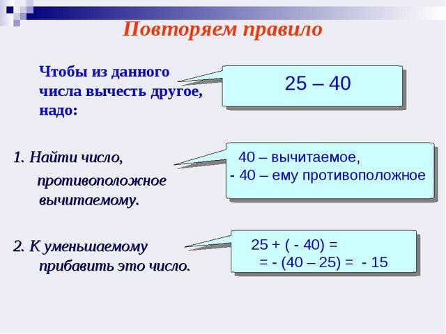Чтобы из данного числа вычесть другое, надо: 1. Найти число, противоположное...