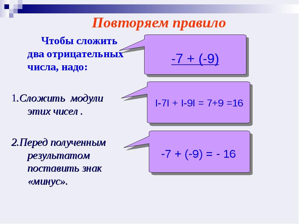 Чтобы сложить два отрицательных числа, надо: 1.Cложить модули этих чисел ....