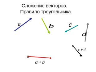 Сложение векторов. Правило треугольника