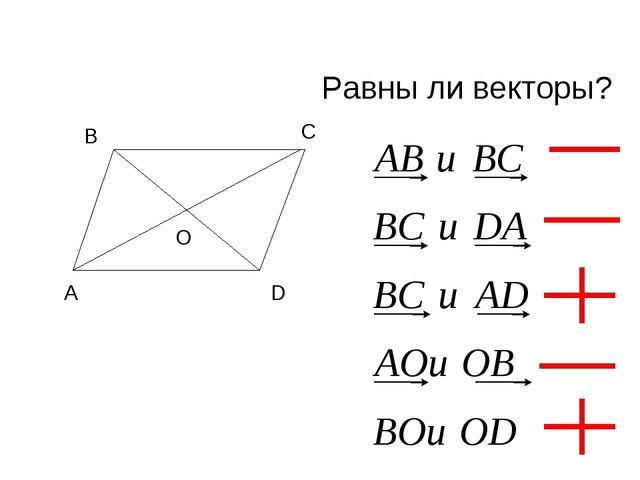 Равны ли векторы?