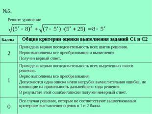 №5. БаллыОбщие критерии оценки выполнения заданий С1 и С2 2Приведена верна