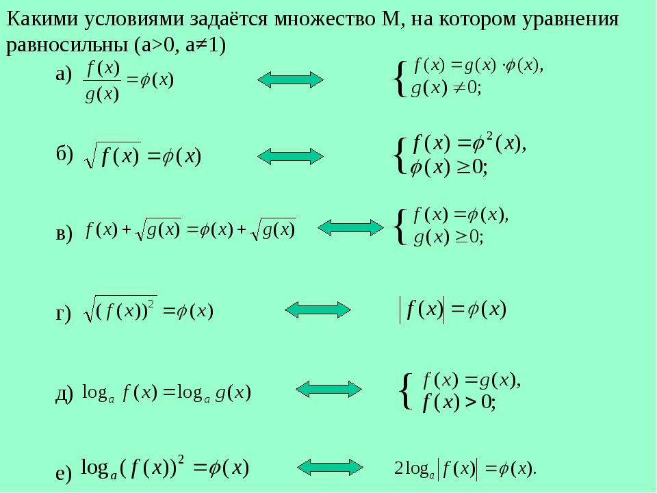 Какими условиями задаётся множество М, на котором уравнения равносильны (a>0,...