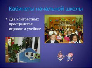 Кабинеты начальной школы Два контрастных пространства: игровое и учебное