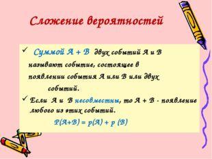 Суммой А + В двух событий А и В называют событие, состоящее в появлении собы