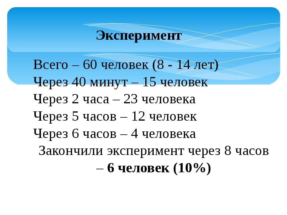 Эксперимент Всего – 60 человек (8 - 14 лет) Через 40 минут – 15 человек Через...