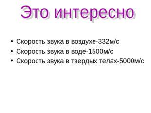 Скорость звука в воздухе-332м/с Скорость звука в воде-1500м/с Скорость звука