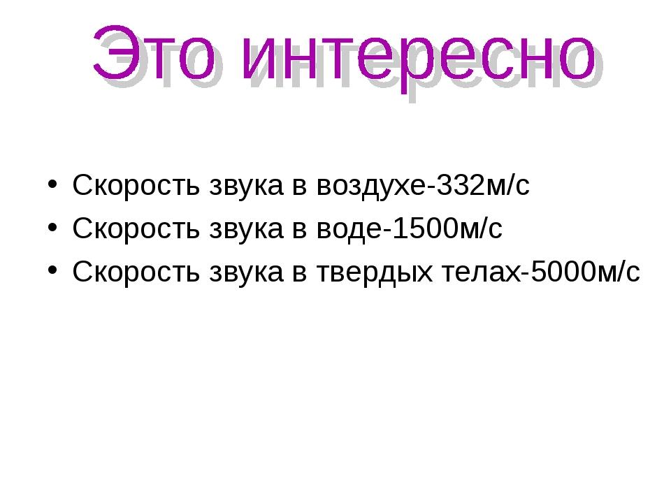 Скорость звука в воздухе-332м/с Скорость звука в воде-1500м/с Скорость звука...