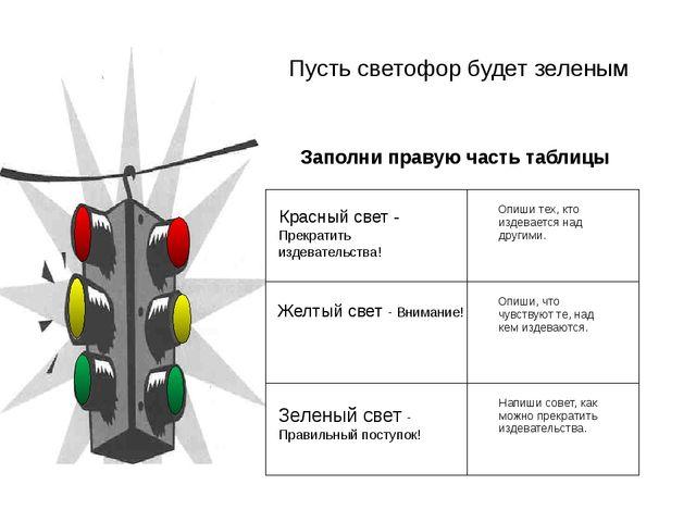 Пусть светофор будет зеленым Заполни правую часть таблицы Красныйсвет-Прекра...
