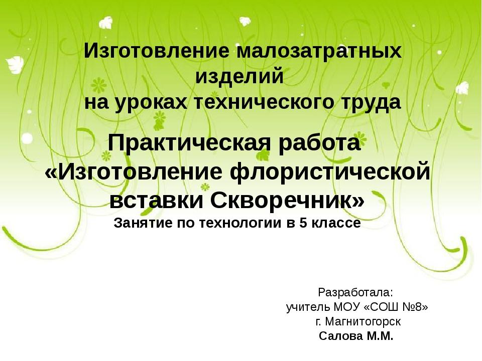 Изготовление малозатратных изделий на уроках технического труда Практическая...
