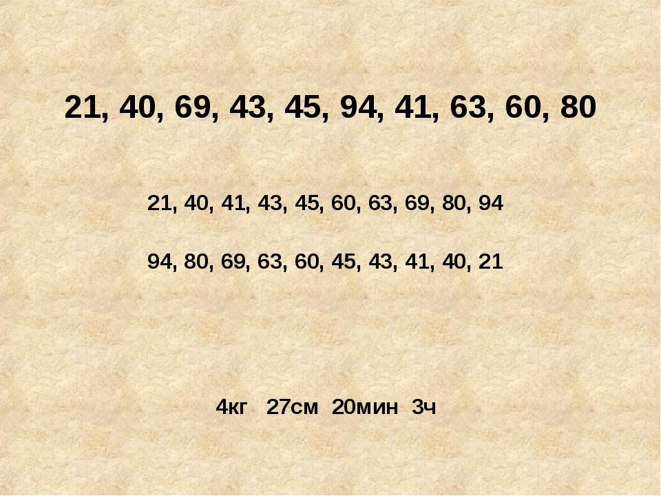 21, 40, 69, 43, 45, 94, 41, 63, 60, 80 21, 40, 41, 43, 45, 60, 63, 69, 80, 94...