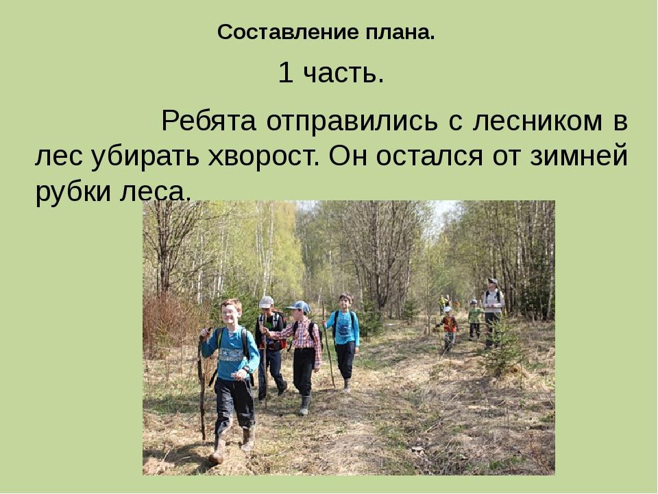 1 часть. Ребята отправились с лесником в лес убирать хворост. Он остался от з...