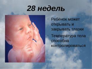 28 недель Ребёнок может открывать и закрывать глазки Температура тела способн