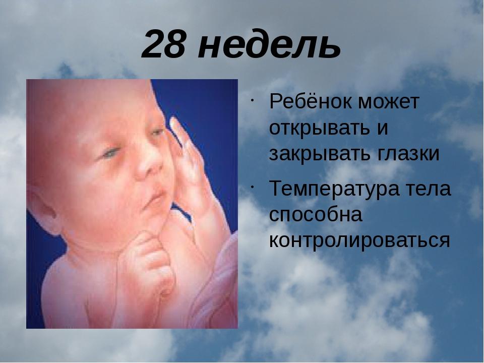 28 недель Ребёнок может открывать и закрывать глазки Температура тела способн...