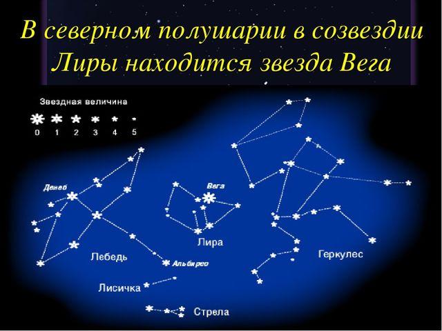 В северном полушарии в созвездии Лиры находится звезда Вега