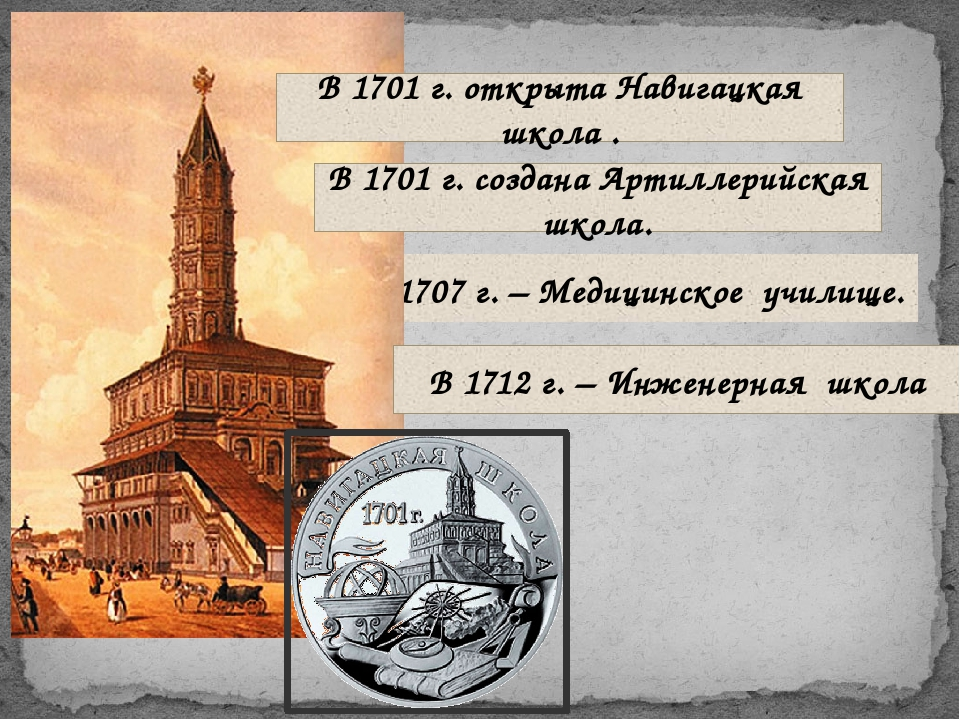 В 1707 г. – Медицинское училище. В 1701 г. открыта Навигацкая школа . В 1701...