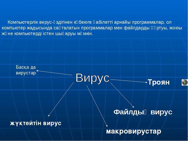 Компьютерлік вирус-өздігінен көбеюге қабілетті арнайы программалар, ол компь...